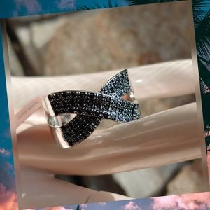 Genuine Black Spinel Crystal Ring